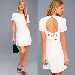 LULUS White Backless Shift Dress NWT Size Large